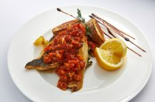 SEA BASS FILLET WITH MEDITERRANEAN SAUCE