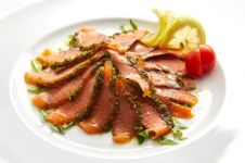 CITRUS AND DILL MARINATED SALMON CARPACCIO